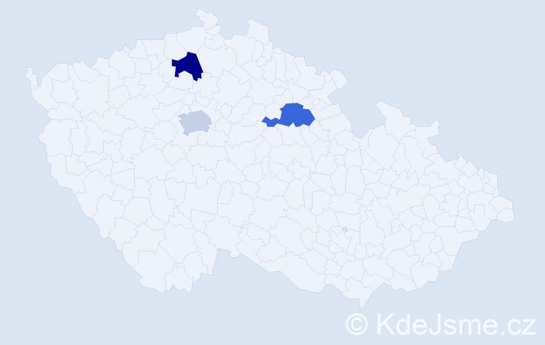 Příjmení: 'Giebová', počet výskytů 3 v celé ČR
