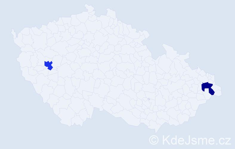 Příjmení: 'Hausch', počet výskytů 2 v celé ČR