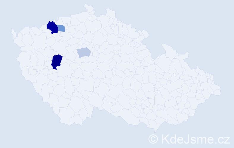 Příjmení: 'Elšlégrová', počet výskytů 9 v celé ČR