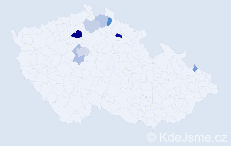 Příjmení: 'Habel', počet výskytů 24 v celé ČR