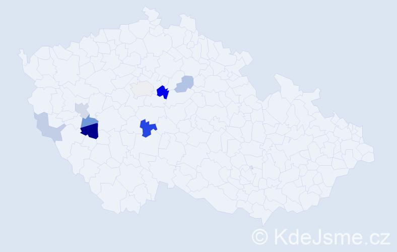 Příjmení: 'Baněčková', počet výskytů 15 v celé ČR