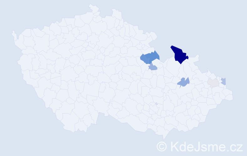 Příjmení: 'Ďubek', počet výskytů 19 v celé ČR