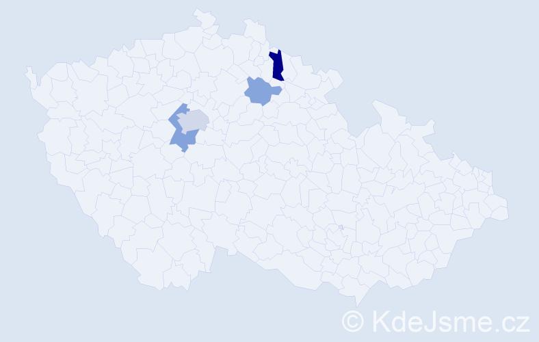 Příjmení: 'Jumrová', počet výskytů 9 v celé ČR