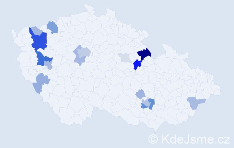 Příjmení: 'Kheil', počet výskytů 71 v celé ČR