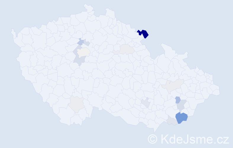 Příjmení: 'Gago', počet výskytů 43 v celé ČR