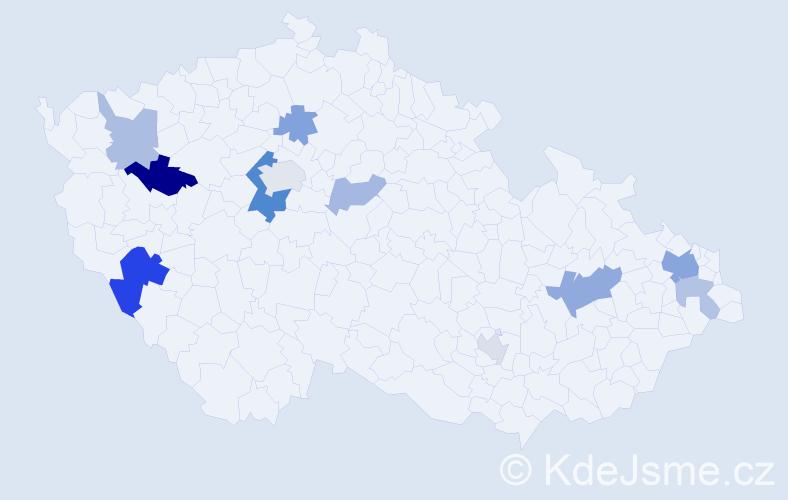 Příjmení: 'Beník', počet výskytů 22 v celé ČR