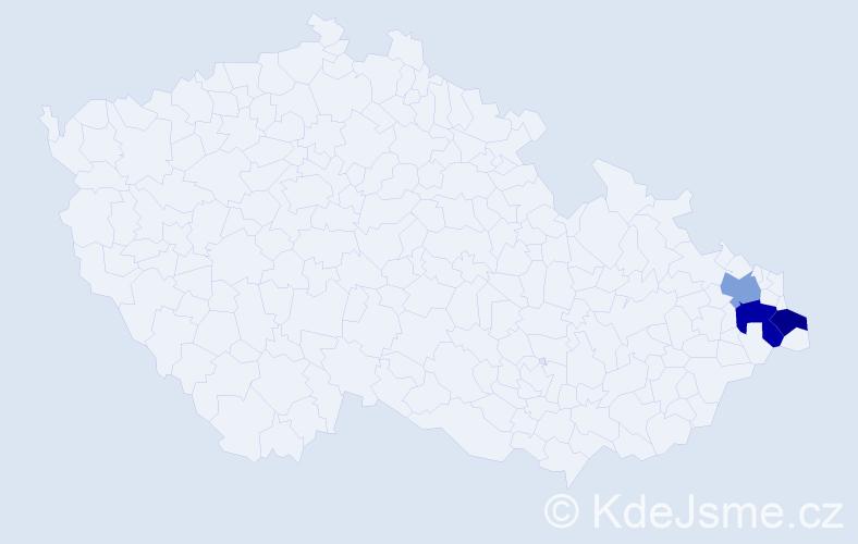 Příjmení: 'Čompa', počet výskytů 7 v celé ČR