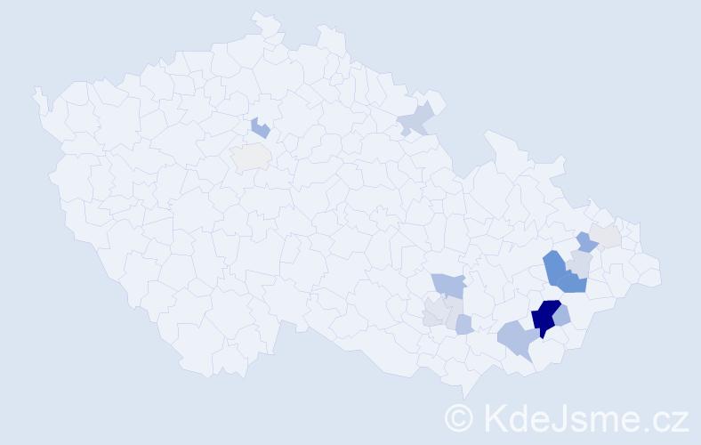 Příjmení: 'Klinkovský', počet výskytů 68 v celé ČR
