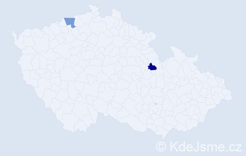 Příjmení: 'Černyj', počet výskytů 2 v celé ČR