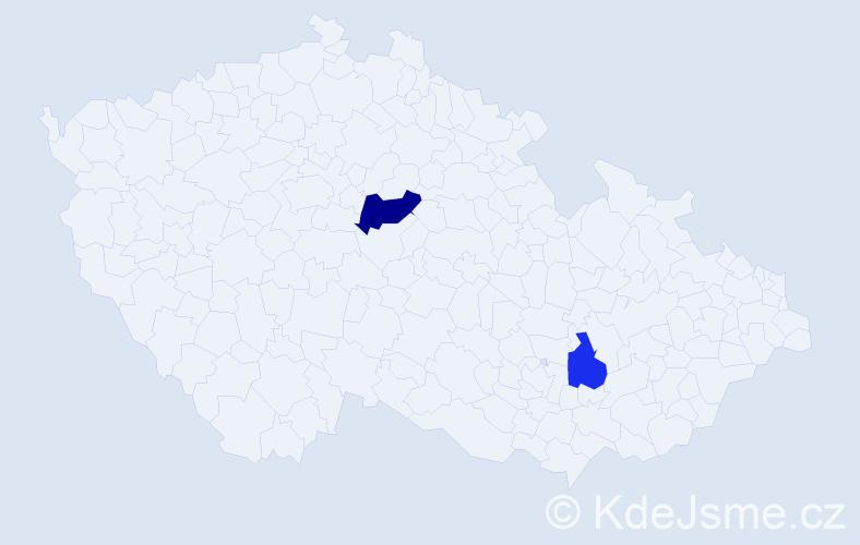 Příjmení: 'Grulyó', počet výskytů 3 v celé ČR