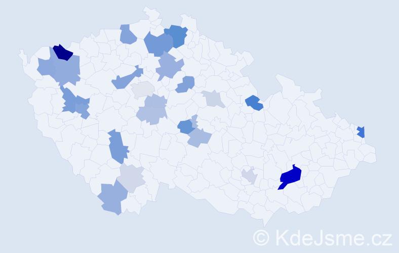 Příjmení: 'Buša', počet výskytů 62 v celé ČR