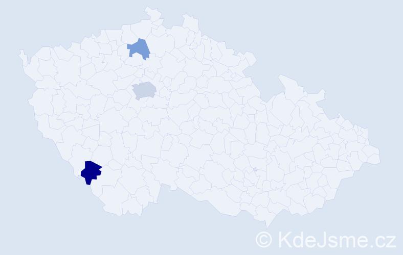 Příjmení: 'Harvaříková', počet výskytů 5 v celé ČR