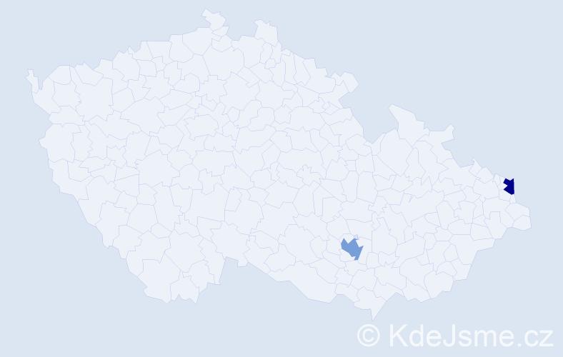 Příjmení: 'Kaisarová', počet výskytů 2 v celé ČR