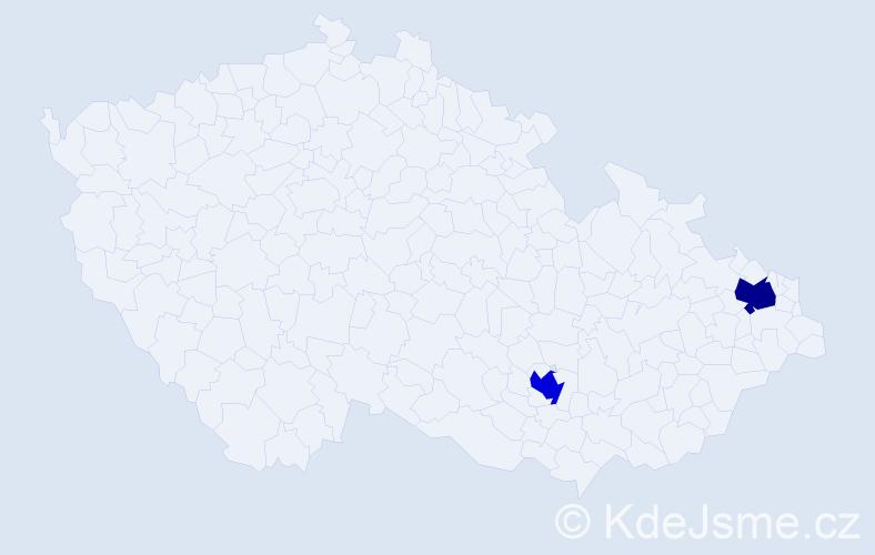 Příjmení: 'Dede', počet výskytů 2 v celé ČR