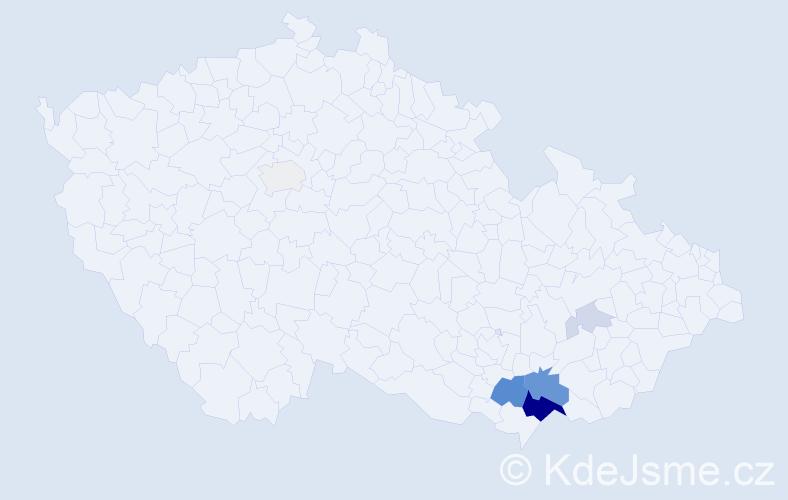 Příjmení: 'Holomáč', počet výskytů 21 v celé ČR