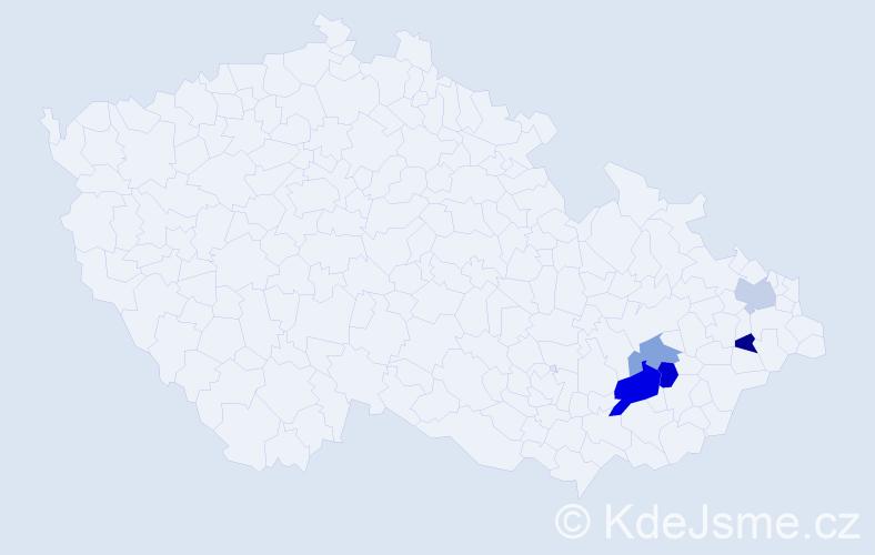 Příjmení: 'Kňazovičová', počet výskytů 7 v celé ČR
