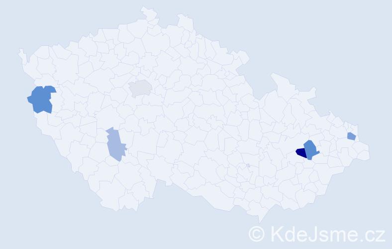 Příjmení: 'Ľoľo', počet výskytů 13 v celé ČR