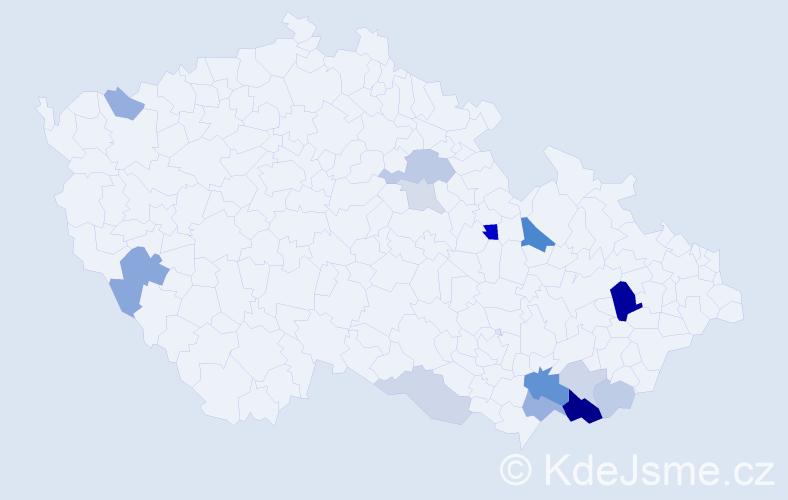 Příjmení: 'Hostýnková', počet výskytů 34 v celé ČR