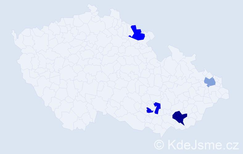 Příjmení: 'Kapitánik', počet výskytů 9 v celé ČR