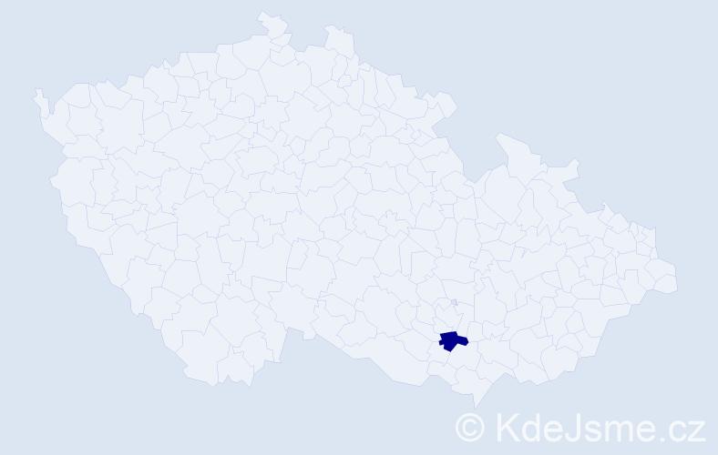 """Příjmení: '""""Čaňková Hašková""""', počet výskytů 1 v celé ČR"""