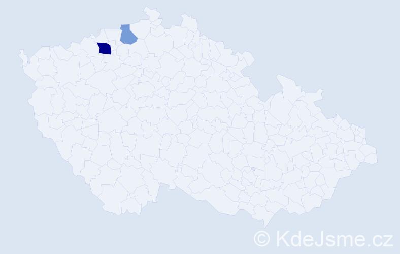Příjmení: 'Jachau', počet výskytů 7 v celé ČR