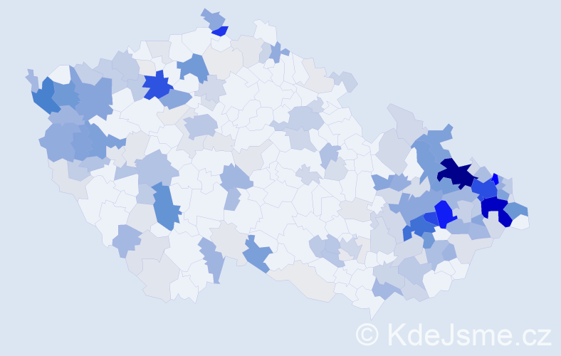 Příjmení: 'Kučová', počet výskytů 738 v celé ČR