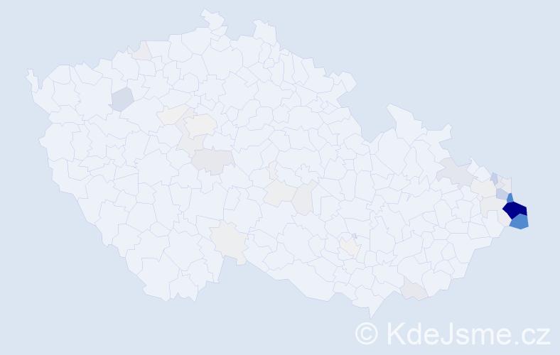 Příjmení: 'Konderla', počet výskytů 244 v celé ČR