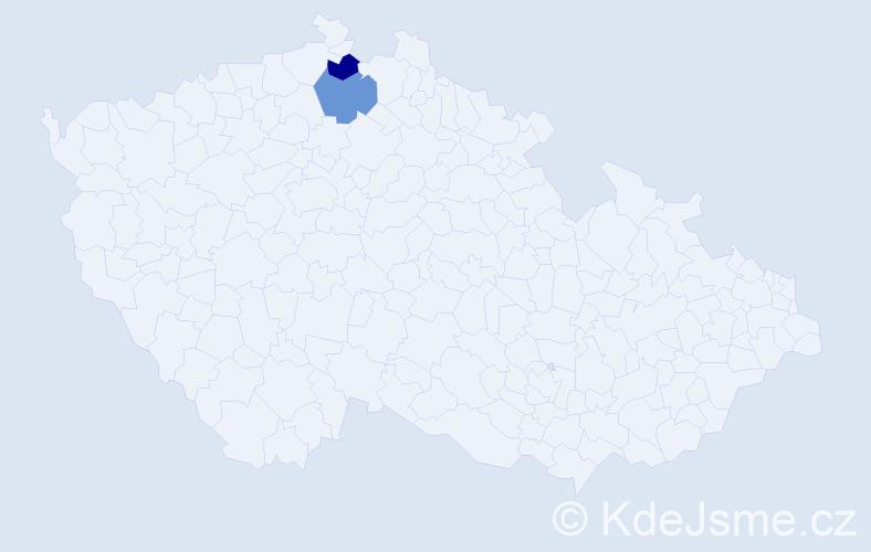 Příjmení: 'Kabíková', počet výskytů 2 v celé ČR