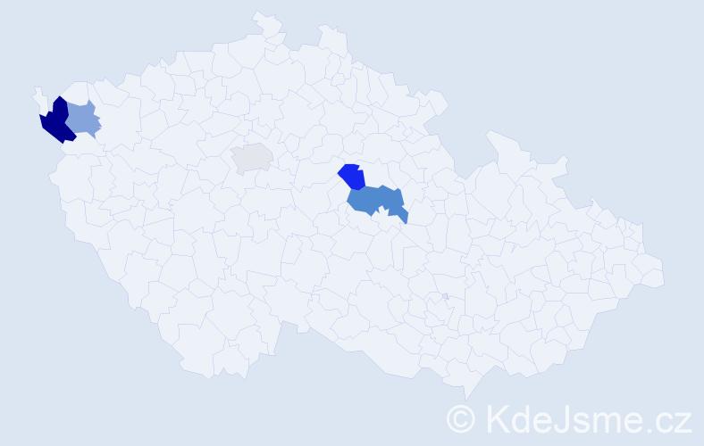 Příjmení: 'Čelinák', počet výskytů 8 v celé ČR
