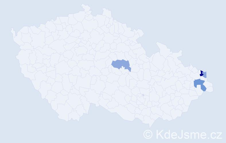 Příjmení: 'Babečka', počet výskytů 7 v celé ČR