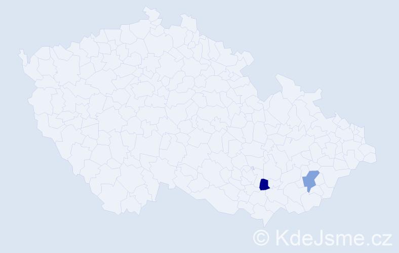 Příjmení: 'Čestnohorská', počet výskytů 2 v celé ČR