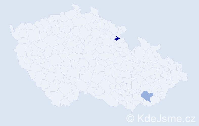 Příjmení: 'Kapitanik', počet výskytů 2 v celé ČR