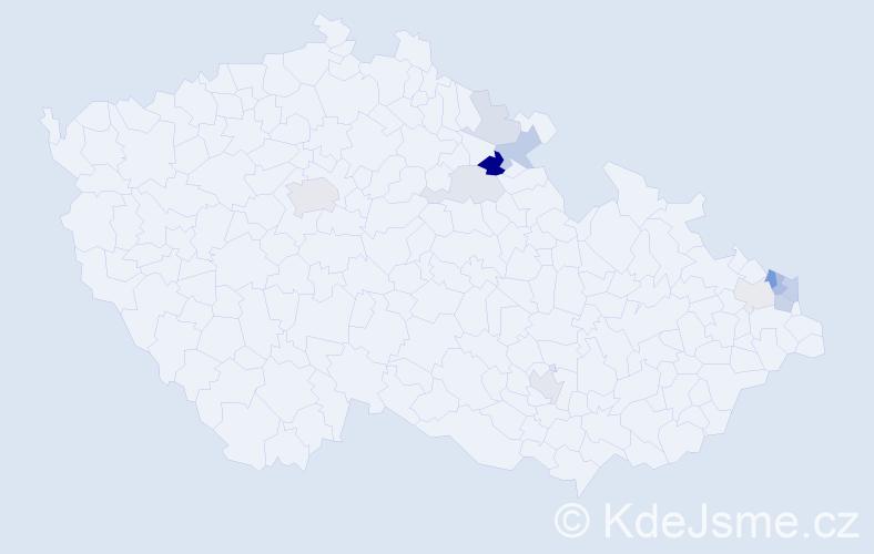Příjmení: 'Jaro', počet výskytů 27 v celé ČR