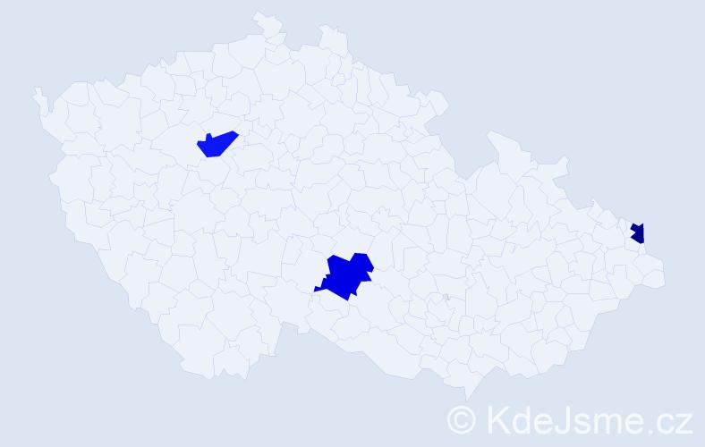 Příjmení: 'Čupeľa', počet výskytů 3 v celé ČR