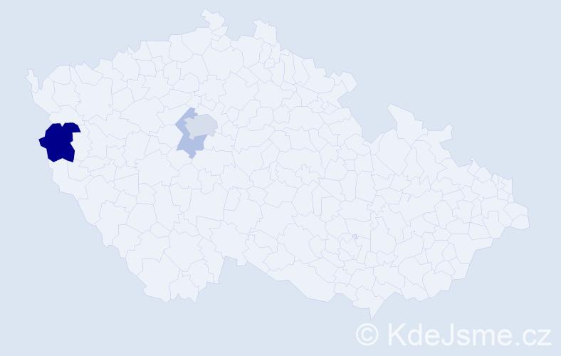 Příjmení: 'Bělčický', počet výskytů 7 v celé ČR