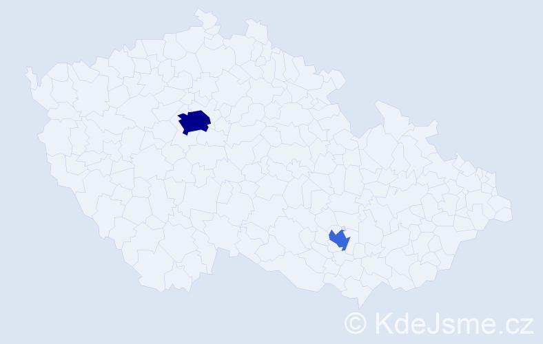 Příjmení: 'Kosinerová', počet výskytů 6 v celé ČR