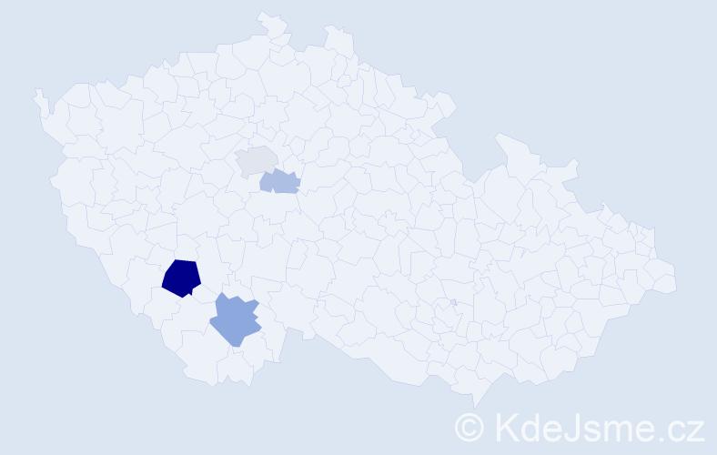 Příjmení: 'Houzim', počet výskytů 13 v celé ČR