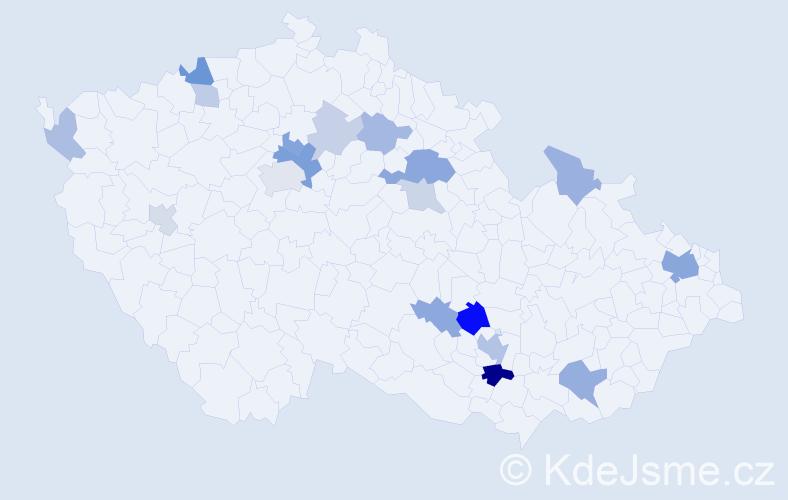 Příjmení: 'Haris', počet výskytů 39 v celé ČR