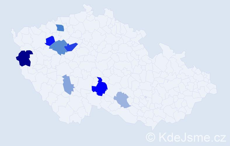 Příjmení: 'Babyka', počet výskytů 19 v celé ČR