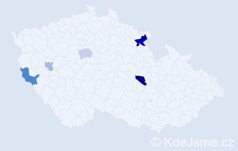 Příjmení: 'Leederová', počet výskytů 9 v celé ČR