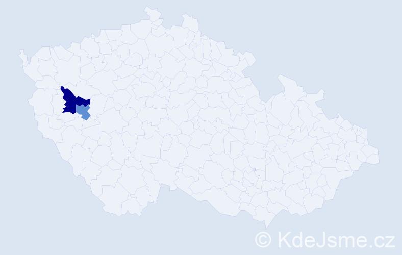 Příjmení: 'Jízba', počet výskytů 4 v celé ČR