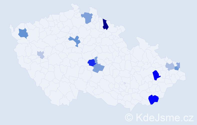 Příjmení: 'Haščák', počet výskytů 21 v celé ČR