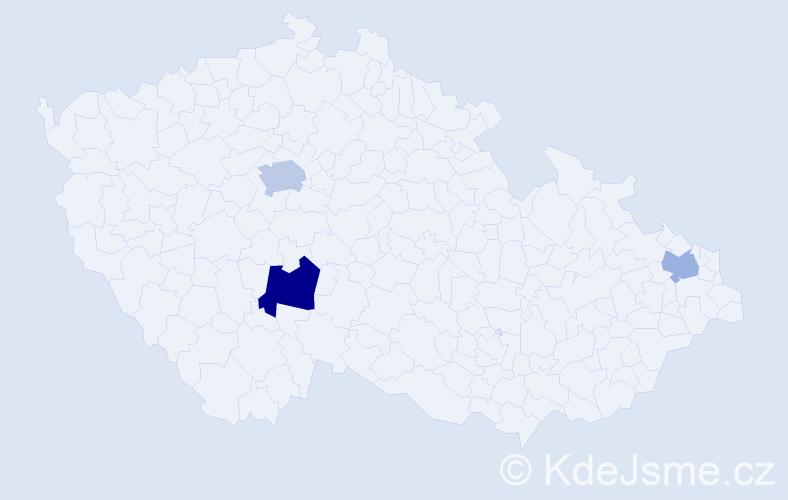 Příjmení: 'Barčiová', počet výskytů 5 v celé ČR