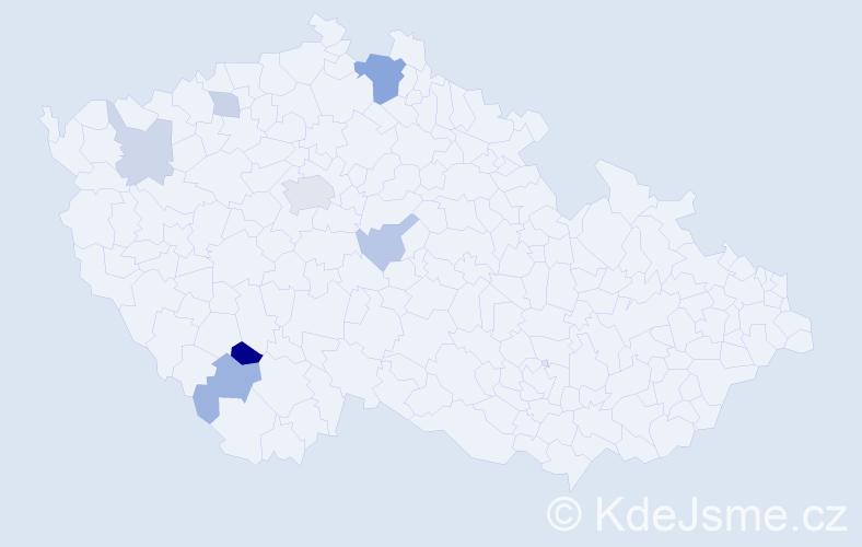 Příjmení: 'Daneková', počet výskytů 14 v celé ČR