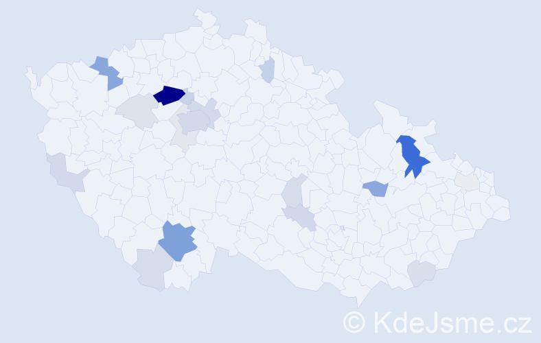 Příjmení: 'Bakalářová', počet výskytů 72 v celé ČR