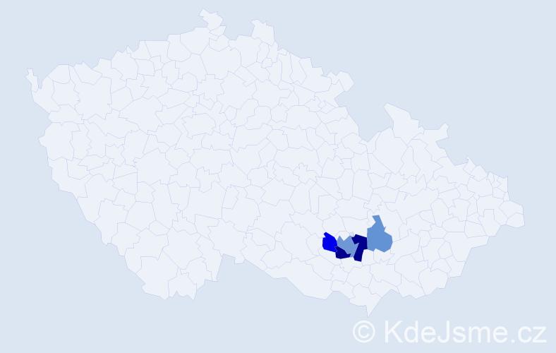 Příjmení: 'Kočvárek', počet výskytů 9 v celé ČR