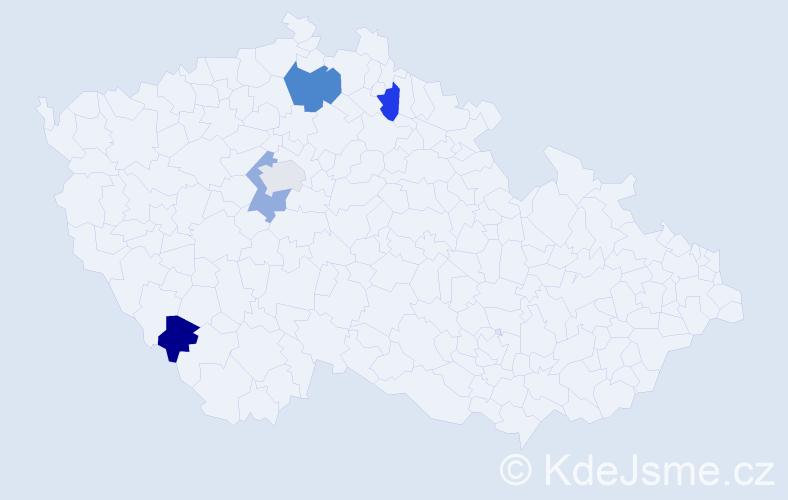 Příjmení: 'Česaná', počet výskytů 6 v celé ČR