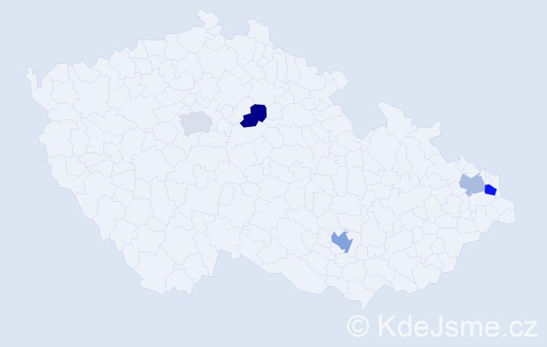 Příjmení: 'Georgiová', počet výskytů 7 v celé ČR