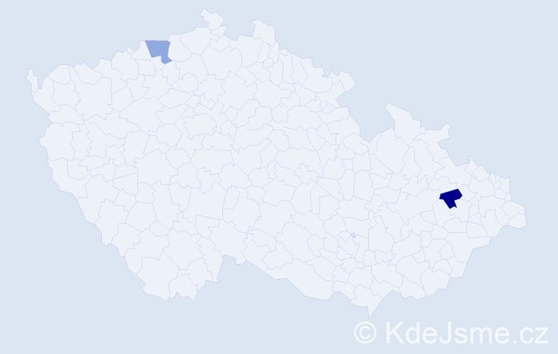 Příjmení: 'Čermaková', počet výskytů 2 v celé ČR