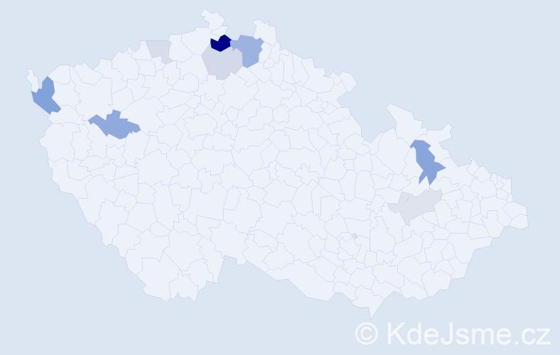 Příjmení: 'Grib', počet výskytů 19 v celé ČR